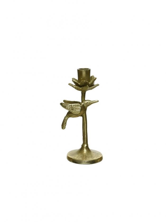 Κηροπήγιο από αλουμίνιο σε χρυσό χρώμα με σχέδιο πτηνό 8,5Χ19